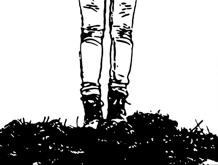 Stipplr Hiker Standing On Mountain Trail