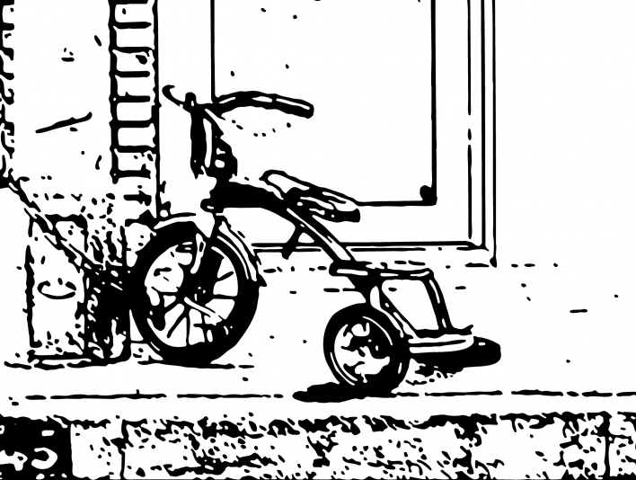 Stipplr Bent Wheel Tricycle Bolted to Porch Post