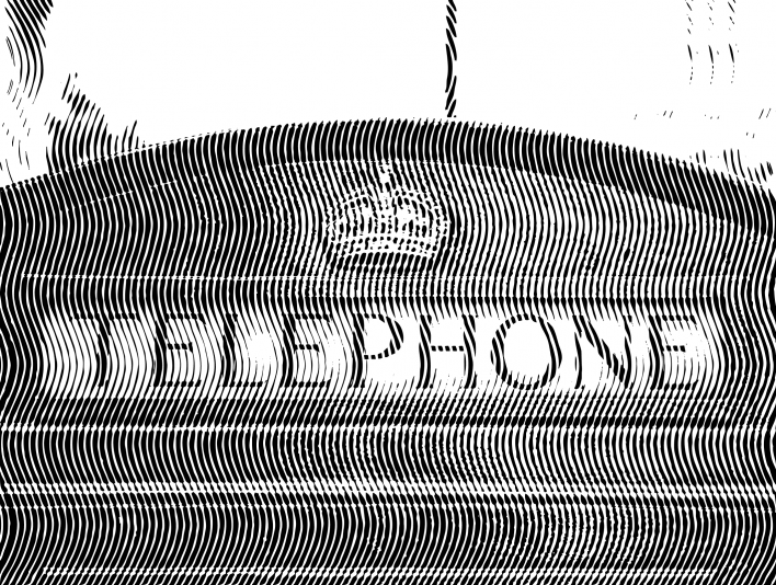 Bold Vertical Engrave London Telephone Booth