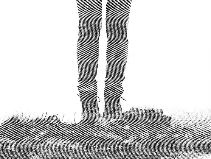Engrave Right Diagonal Mountain Hiker