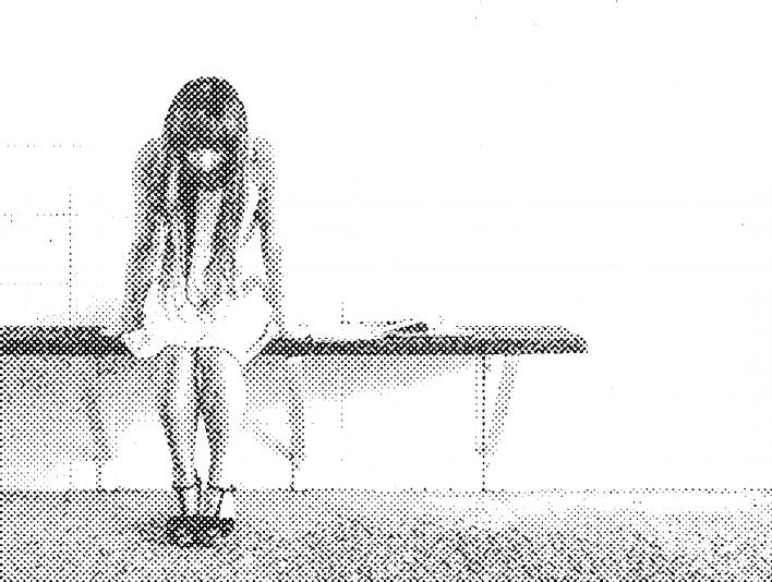 Stipplr Woman On Bench Waiting