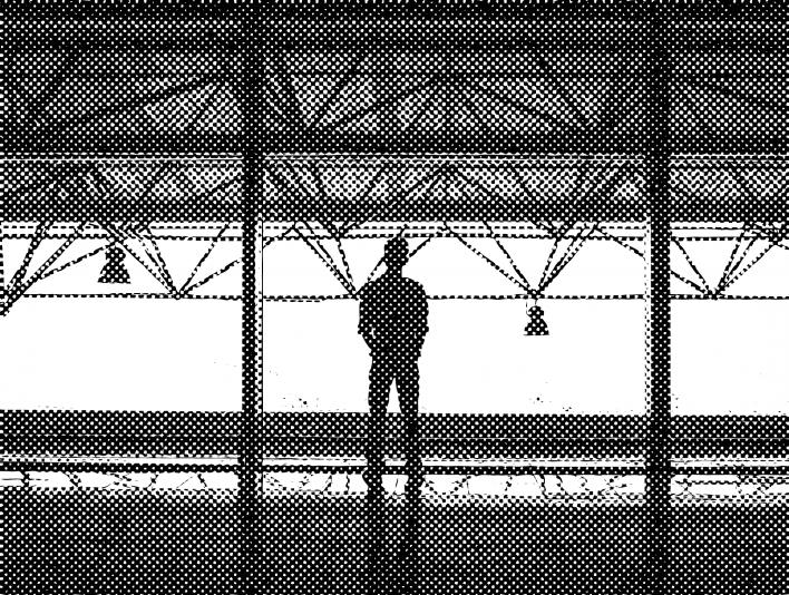 Stipplr Line Pattern Man Staring Out Mezzanine Window