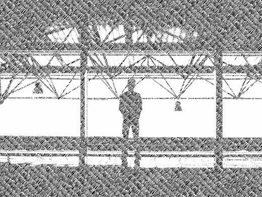 Stipplr Line Pattern Man Staring Out Mezzanine Window