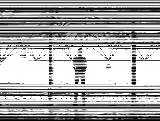 Linear Line Pattern Man Staring Out Mezzanine Window