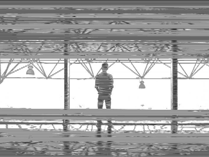 Linear Line Pattern Man Staring Out Mezzanine Window