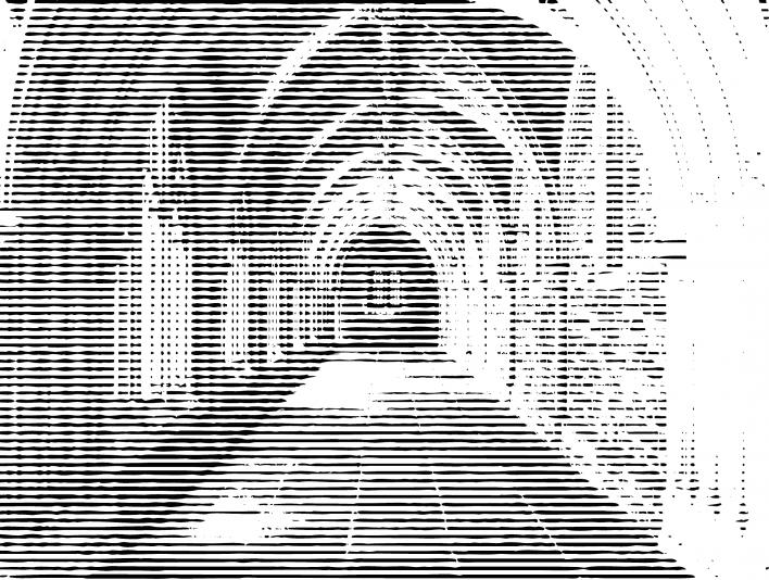 Stipplr Stone Monastery Hallway Leads to Glass Window