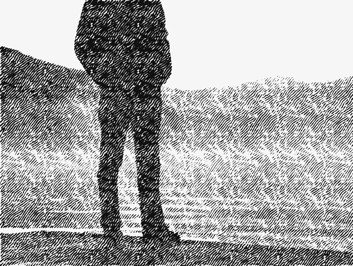 Stipplr Man Standing By Lakefront With Mountains