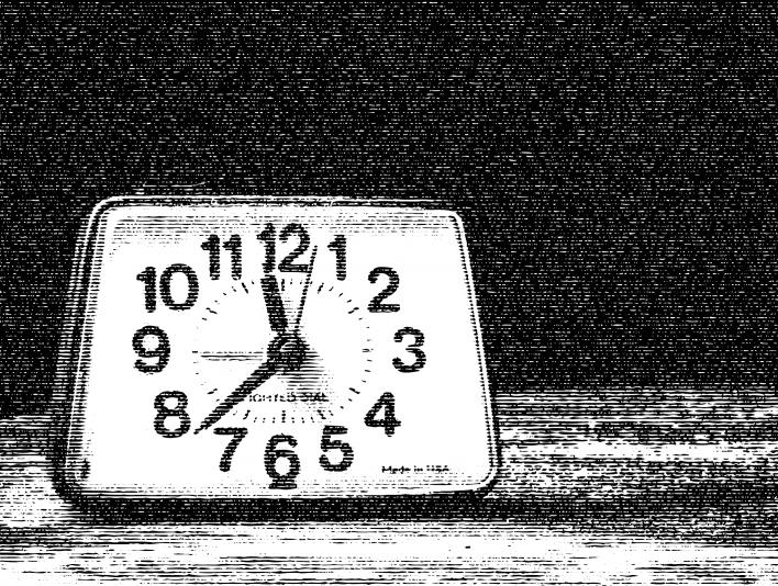 Scanline Analog Clock On Nightstand