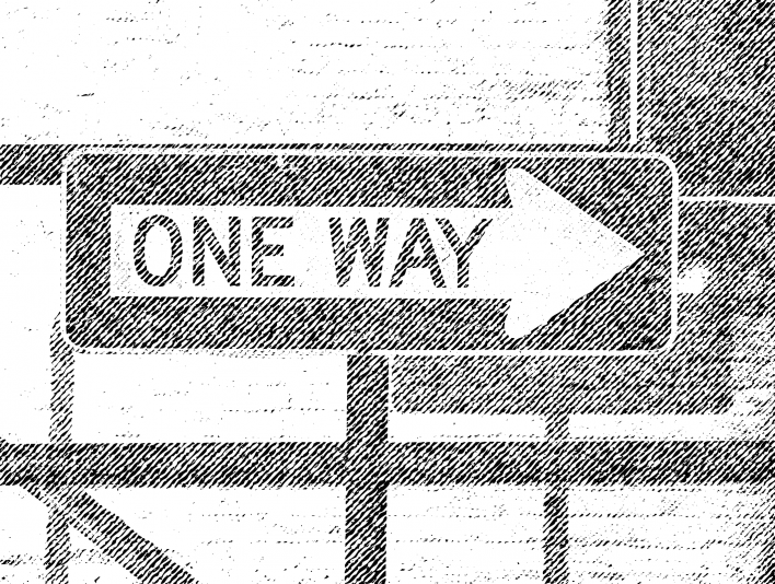 Scanline One Way Street Sign Pointing That-A-Way