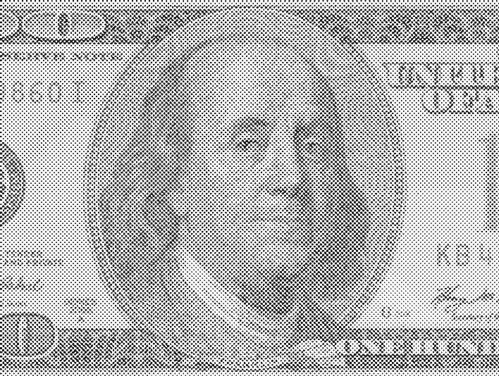 Stipplr Newsprint Texture US 100 Dollar Bill