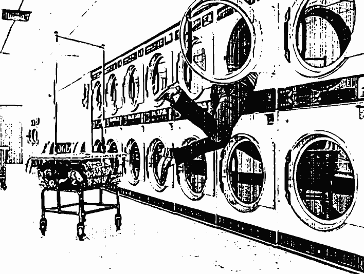 Stipplr Bad Photocopy Texture Woman in Laundry Machine