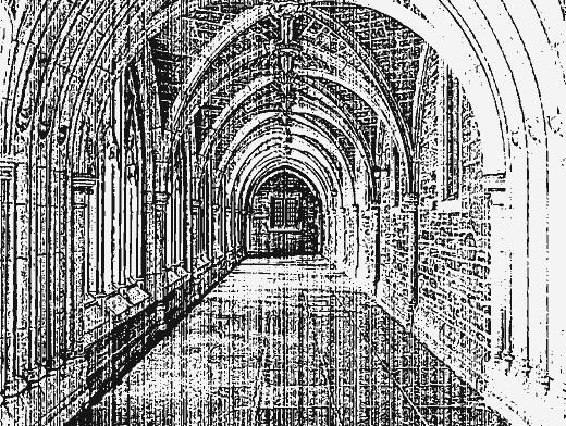 Stipplr Distressed Photocopy Texture Church Hallway