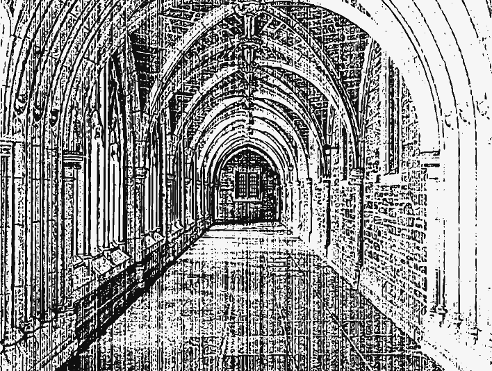 Stipplr Distressed Photocopy Texture Church Hallway
