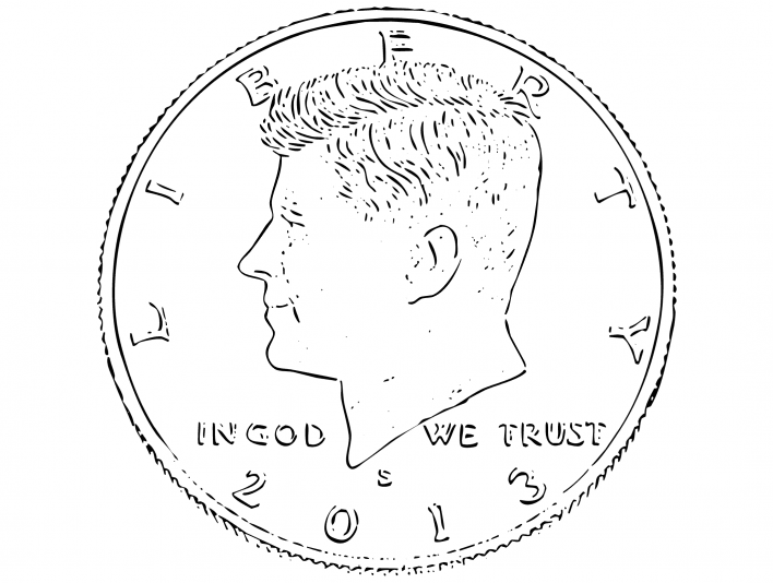 Stipplr 1964 John F. Kennedy US Half Dollar Coin