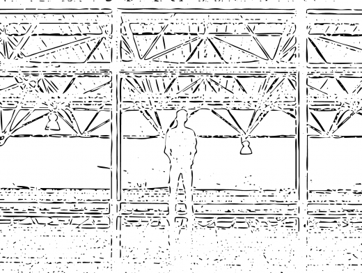 Stipplr Pattern Man Staring Out Mezzanine Window