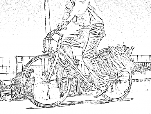 Stipplr Man Riding Bicycle With Wheel Satchels