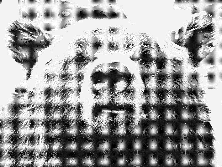 Stipplr Photoshop Benday Dot Technique Brown Bear Face