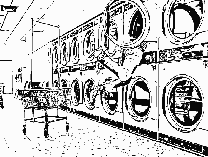 Stipplr Photoshop Vector Outline Woman in Laundry Machine