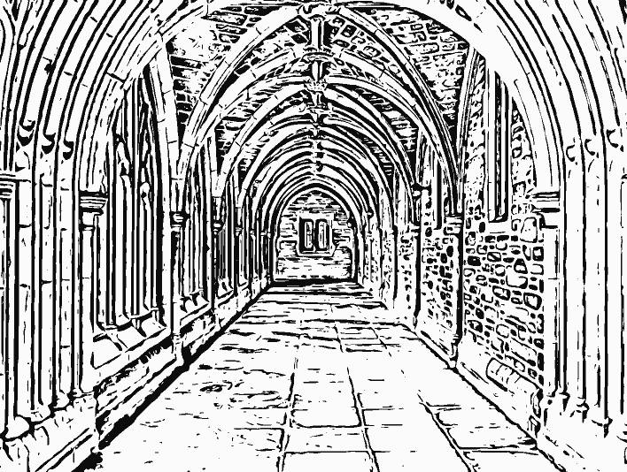Stipplr Photoshop Vector Trace Linework Cathedral Hallway