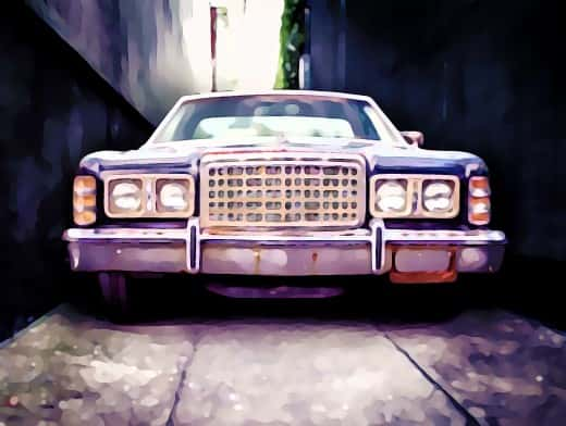 Stipplr Photoshop Cartoonize Action American Car in Alley
