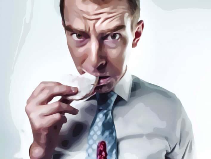 Stipplr Photoshop Scanner Darkly Action Man Eating Donut At Work
