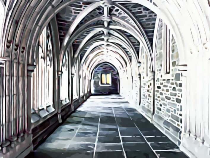 Stipplr Photoshop Scanner Darkly Action Cathedral Hallway