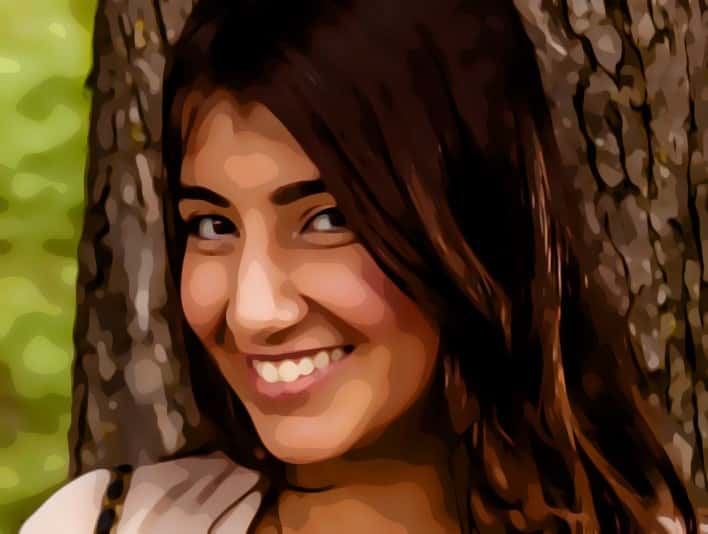 Stipplr Photoshop Scanner Darkly Action Smiling Young Woman