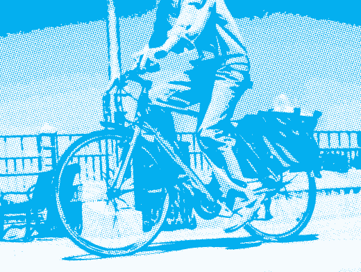 Stipplr Photoshop CMYK Cyan Channel Stencil Man Riding His Bike