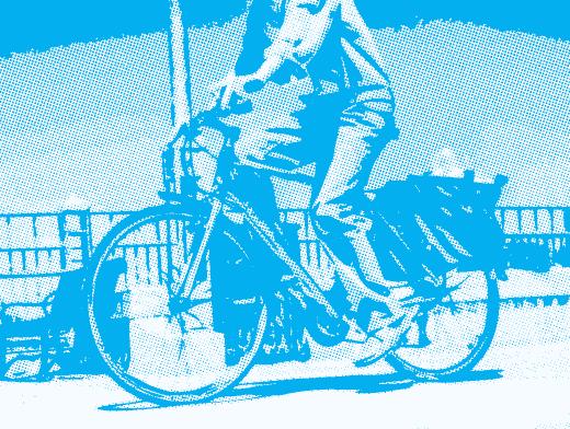 Stipplr Photoshop CMYK Cyan Channel Stencil Man Riding His Bike