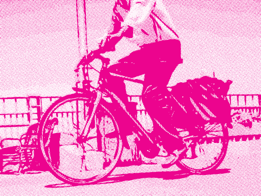 Stipplr Photoshop CMYK Magenta Channel Stencil Man Riding His Bike