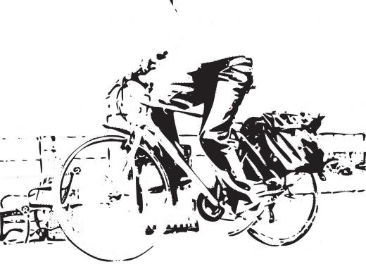 Stipplr Photoshop CMYK Keyline Channel Stencil Man Riding His Bike