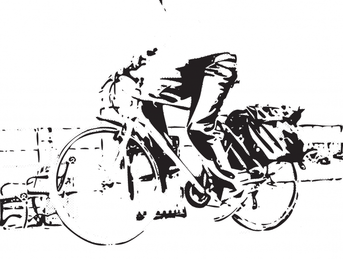 Stipplr Photoshop CMYK Keyline Channel Stencil Man Riding His Bike