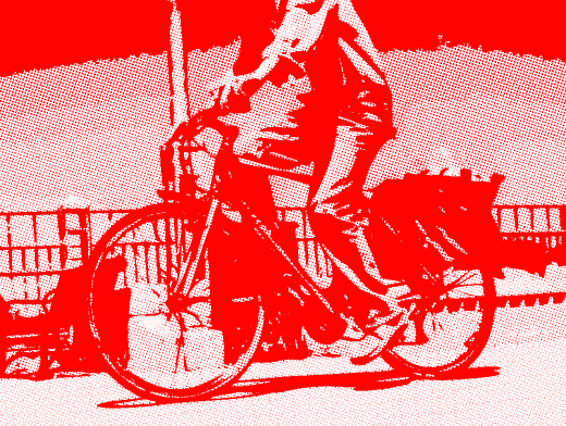 Stipplr Photoshop RGB Red Channel Stencil Man Riding His Bike