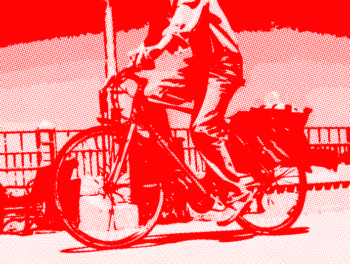 Stipplr Photoshop RGB Red Channel Stencil Man Riding His Bike