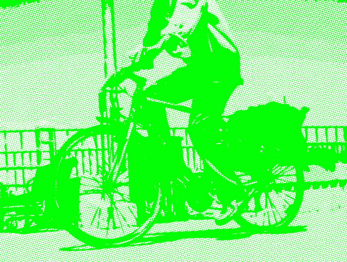 Stipplr Photoshop RGB Green Channel Stencil Man Riding His Bike