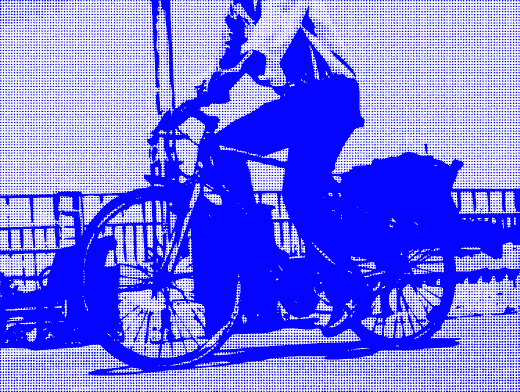 Stipplr Photoshop RGB Blue Channel Stencil Man Riding His Bike