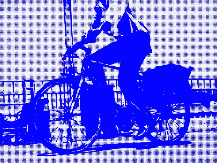 Stipplr Photoshop RGB Blue Channel Stencil Man Riding His Bike