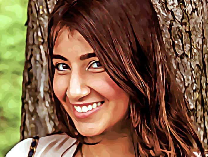 Stipplr Photoshop Pixel Vexel Art Smiling Girl With Long Brown Hair