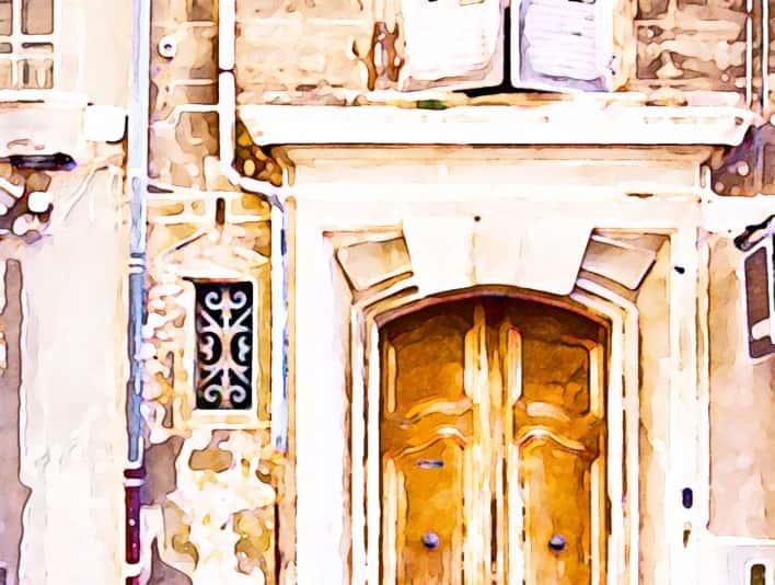 Stipplr Photoshop Water Color Action Wooden Front Door