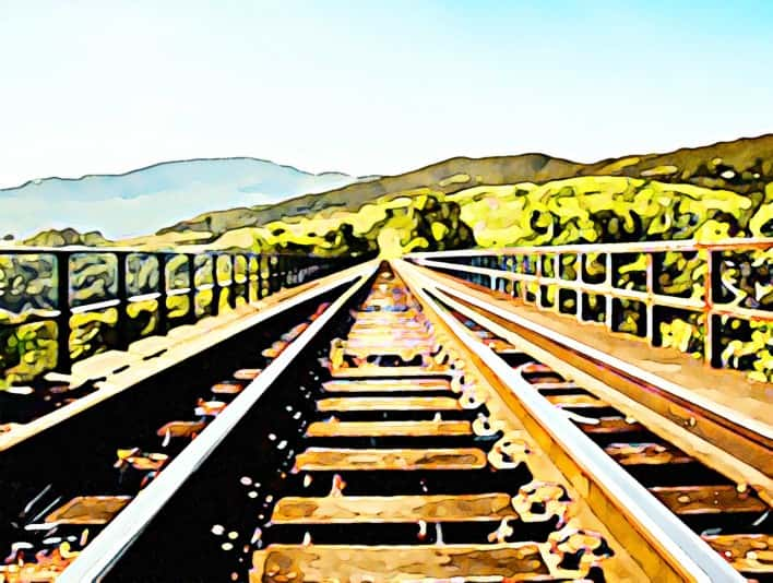 Stipplr Photoshop Water Color Action Railway Bridge Crossing into Countryside
