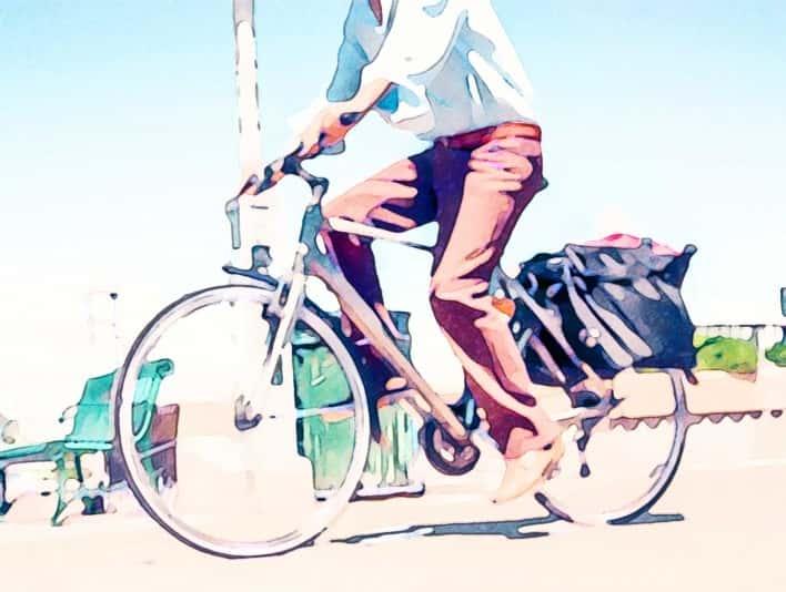 Stipplr Photoshop Water Color Action Man Rides Bike to Work