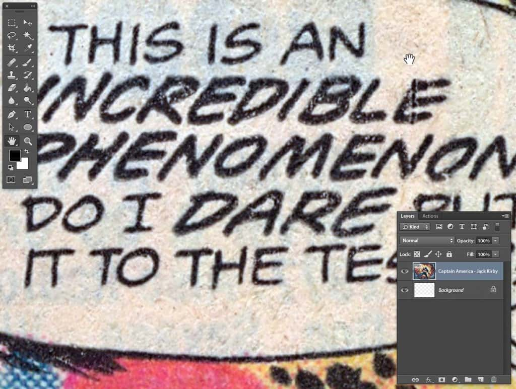 Captain America 4 color process text contains too much noise to trace