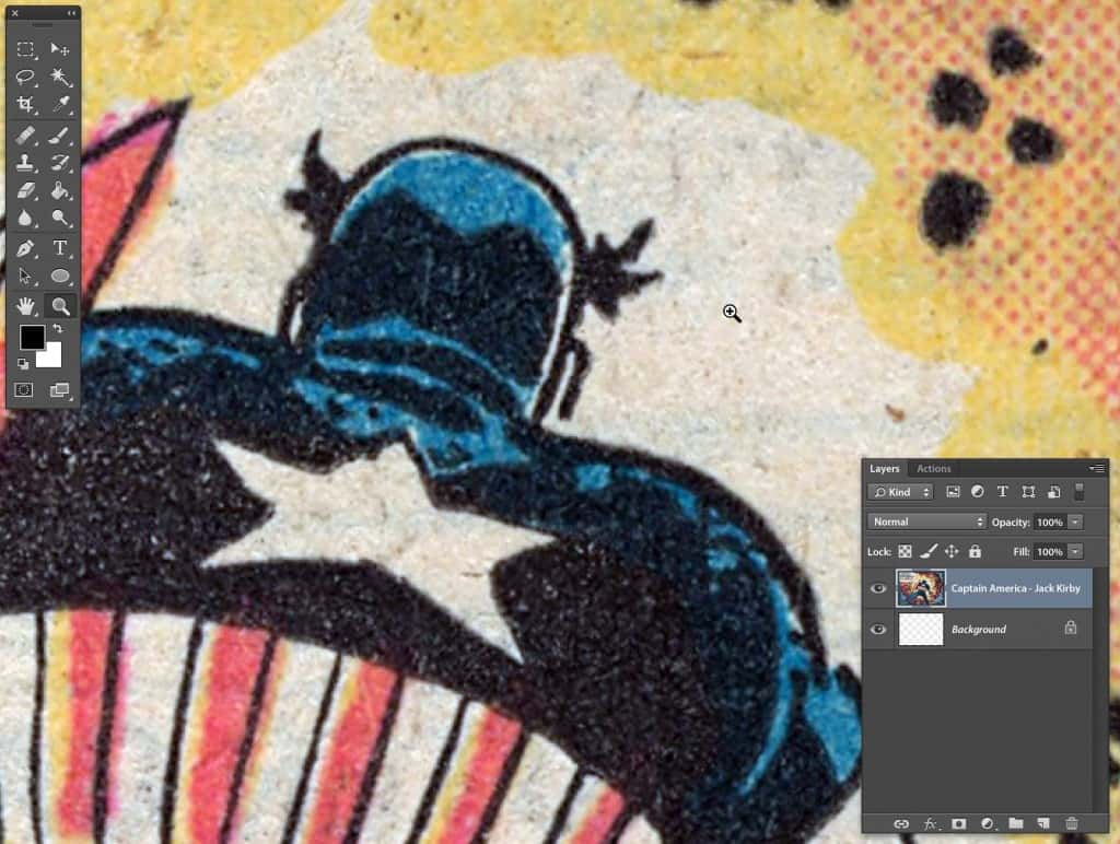 Captain America 4 color process zoom to inspect for noise
