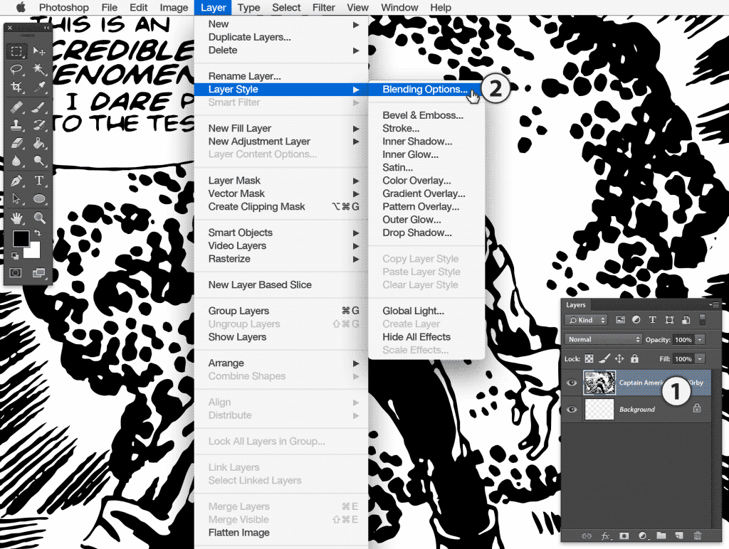 Photoshop choose Blending Options submenu