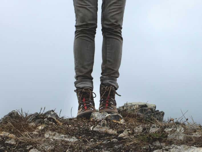 Stipple Stock Photo Hiker Stops To Enjoy View From Mountain Trail