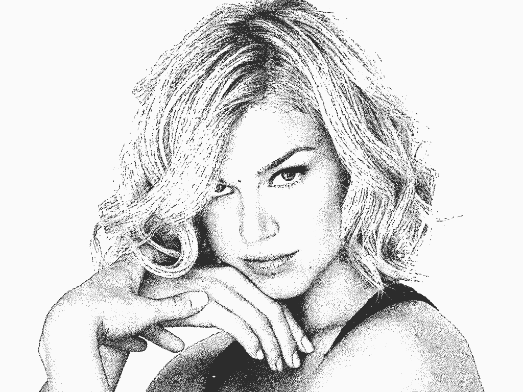 Stipplr Head Shot Of Actress Adrianne Palicki With 4 Stippling Actions Applied
