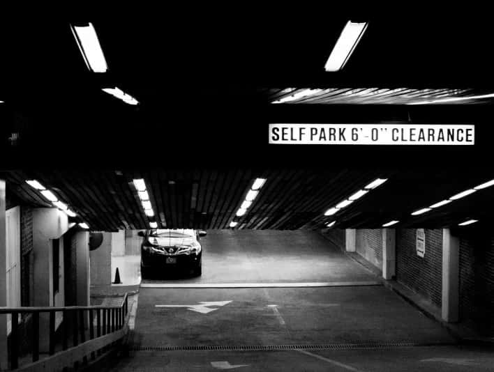Stipplr Stock Photo Source Gratisography Underground Parking Black and White Concrete and Bricks