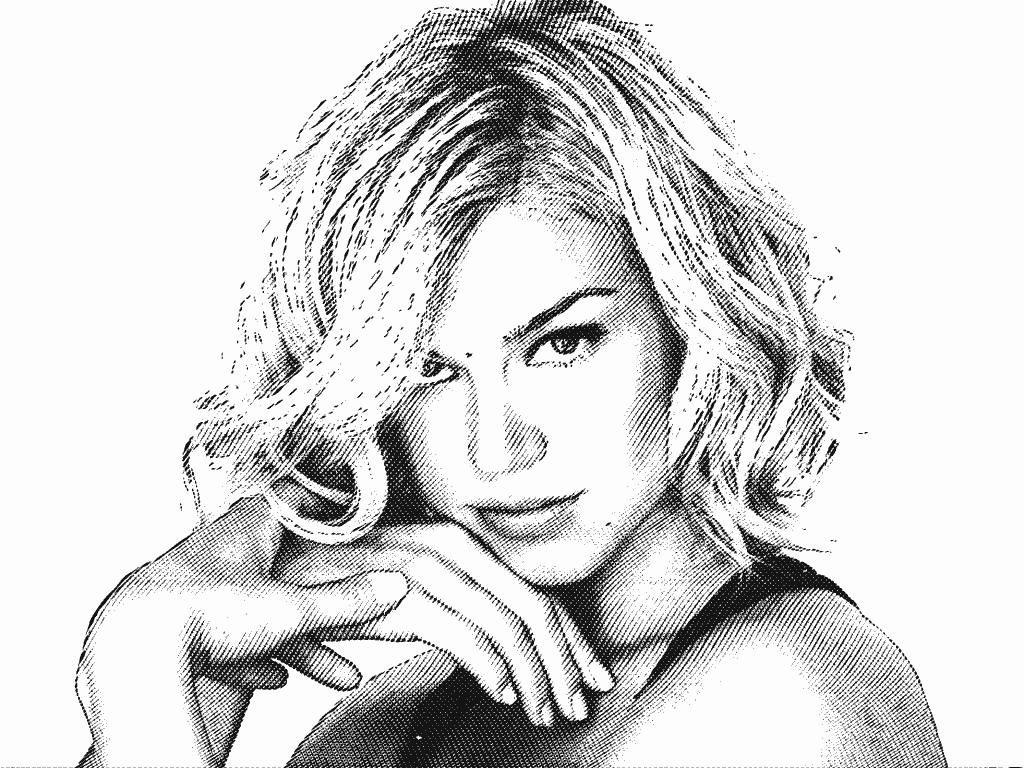 Stipplr Head Shot Of Actress Adrianne Palicki With Engraving Actions Applied