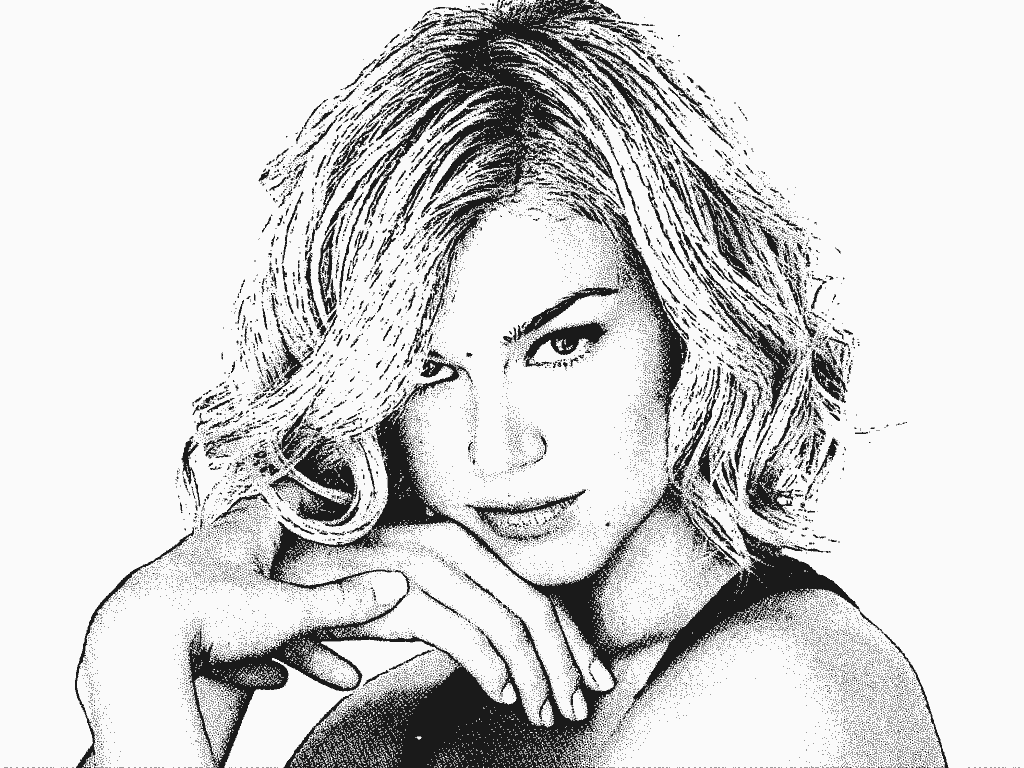 Stipplr Head Shot Of Actress Adrianne Palicki With Stipple Plus Engraving Actions Applied