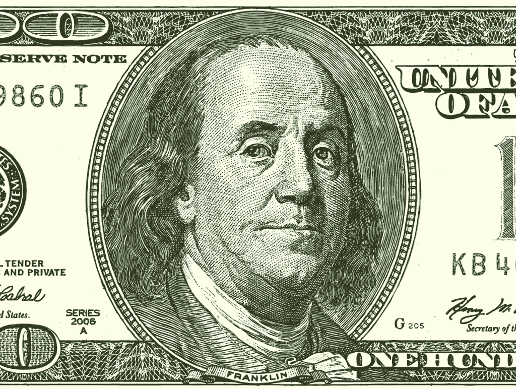 Stipplr Photoshop Image Trace Action Used to Generate Linework From Scanned US 100 Franklin Bill